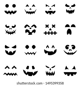 Set of pumpkin faces silhouette icons for Halloween isolated on white background. Scary pumpkin devil smile, spooky jack o lanter. Vector illustration for any design.
