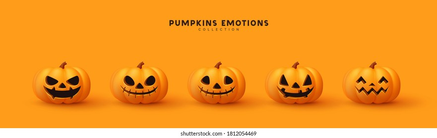 Set of pumpkin for holiday Halloween. Realistic 3d orange pumpkins with cut scary good joy smile. Collection of 3d objects. Design elements isolated on orange background. Vector illustration