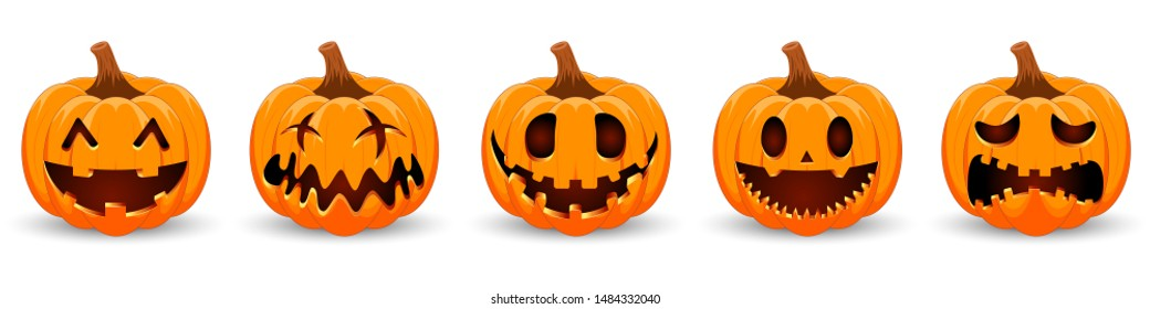 Set pumpkin on white background. Orange pumpkin with smile for your design for the holiday Halloween. Vector illustration.