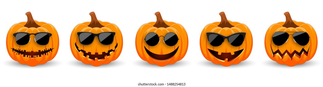 Set of Pumpkins in black sunglasses on white background. The main symbol of the holiday Happy Halloween. Hipster orange pumpkins with smile for the holiday Halloween. Vector illustration