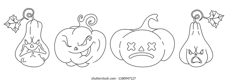 Set of pumpkins with emotions for Halloween. Contour children's coloring. Vector