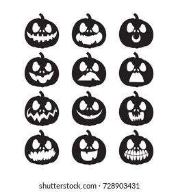 Set pumpkins for Halloween. Pumpkin face on background. Vector illustration