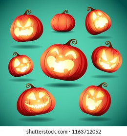 Set pumpkins of Halloween. A variety of pumpkins for Halloween design.