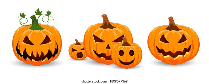 Set of pumpkins on white background. The main symbol the Halloween holiday. Orange pumpkins with smiles for your design for the holiday. Happy Halloween Vector illustration.