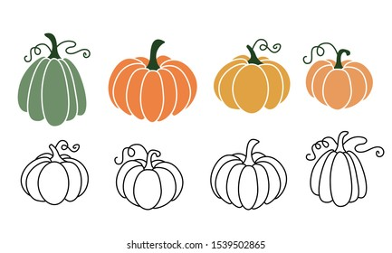 A set of pumpkins in various shapes, black outlined and colored. Vector collection of cute hand drawn pumpkins on white background. Elements for autumn decorative design, halloween invitation, harvest