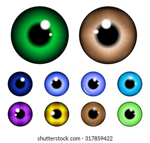 Set of  pupil of the eye, eye ball, iris eye. Realistic vector illustration isolated on white background.