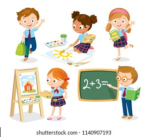 Set of pupils in uniform. Boy and girl waving hands. Girl is painting with watercolor. Boy writing on chalkboard. Vector illustration. Flat design.