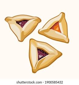 Set of Purim cookies Hamantaschen (Haman's ears) traditional Jewish food. Vector illustration