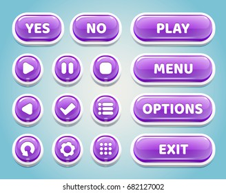 Set of purple candy buttons for mobile games.UI elements.