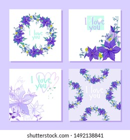 set with purple clematis flowers wreath pattern and postcards. the composition includes postcards with a wreath, a seamless pattern, with graphic and multi-colored flowers. all in lilac and purple