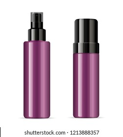 Set of purple cosmetic glossy plastic or glass bottles with black dispenser spray pump. Sprayer Liquid containers for gel, lotion, cream, serum, base. Beauty cosmetics product package.