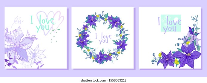 set with purple flowers wreath pattern and postcards. the composition includes postcards with a wreath, a seamless pattern, with graphic and multi-colored flowers. all in lilac and purple shades