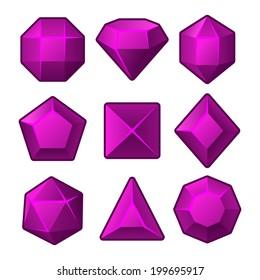 Set of Purple Gems for Match3 Games. Vector illustration