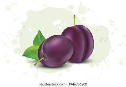 set of purple plum vector illustration with green leaves
