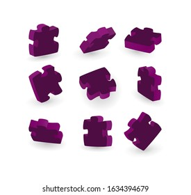 Set of purple puzzle piece 3d isolated different position. Game sign. For web, app. vector illustration. Jigsaw concept