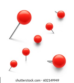 Set of push pins in different angles. Vector illustration on white background.