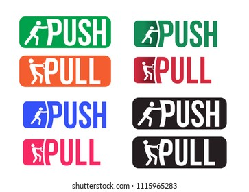 Set of Push and pull icon. Plate,door pointer. Vector illustration. Isolated on white background