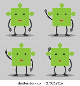 Set of puzzle piece characters: standing, waving hand, in aha moment and thinking. Solution, idea concept. EPS 10 vector, no transparency