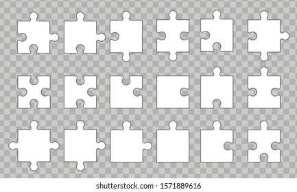 Set puzzle pieces isolated on transparent background.