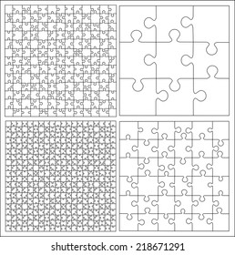 Set of puzzle templates vector