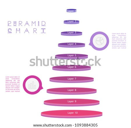 Set Pyramid Chart Flow Diagrams Pie Stock Vector Royalty Free