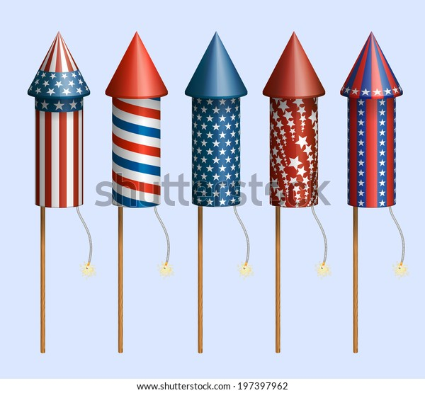Set of pyrotechnic rockets, with design for fourth of July, and other holidays, EPS 10 contains transparency.
