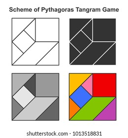 Set of Pythagoras Tangram game schemes in white, black, gray and color versions. Geometric puzzle. Vector illustration