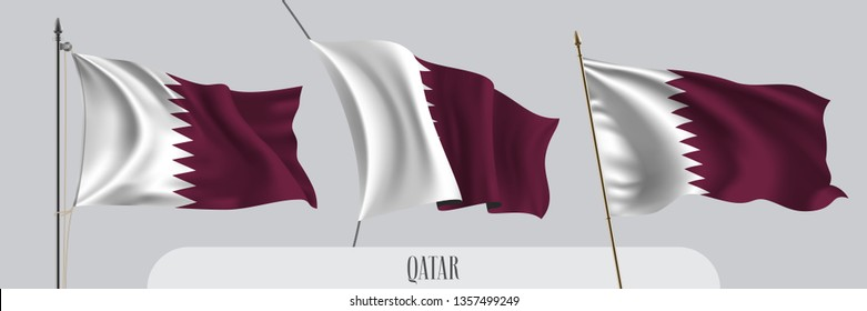 Set of Qatar waving flag on isolated background vector illustration. 3 red white Qatari wavy realistic flag as a patriotic symbol