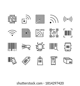 Set of QR Code, barecode vector line icons. Contains icons such as wireless RFID chip and radio-frequency identificationscanner, package code,  barcode and more. Editable stroke.