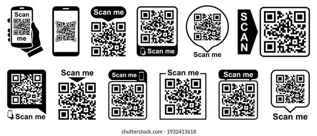 Set QR - Quick Response Code, Inscription scan me, Qr code for smartphone, payment, mobile app scan, QR code collection – vector