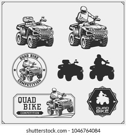 Set of Quad bike competition emblems, labels and design elements.