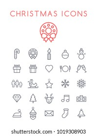 Set of Quality Isolated Universal Standard Minimal Simple Christmas Black Thin Line Icons on White Background
