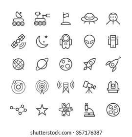 Set of Quality Isolated Universal Standard Minimal Simple Space Black Thin Line Icons on White Background.