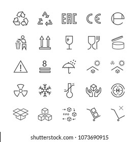 Set of Quality Universal Standard Minimal Simple Black Thin Line Packaging Icons on White Background