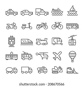 Set of Quality Universal Standard Minimal Simple Transport Black Thin Line Icons on White Background.