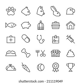 Set of Quality Universal Standard Minimal Simple Veterinary Black Thin Line Icons on White Background.
