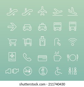 Set of Quality Universal Standard Minimal Simple Airport White Thin Line Icons on Color Background.