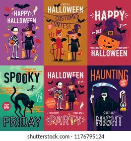 Set of quality vector poster, banner or flyer halloween templates featuring kids wearing costumes and other halloween themed items, characters and objects.