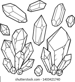 Set of quartz crystal collection isolated on white background. Crystal cluster, minerals, dimonds. Hand drawn gems sketch style.