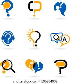 set of question and answer vector icons