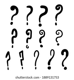 set of question mark. cartoon vector illustration question mark doodle hand drawn, sketch style, isolated on white background eps 10, easy to modify.