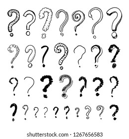 Set of question mark. Doodle style. Collection of icons and signs Why. Engraved hand drawn sketch. Abstract vector.