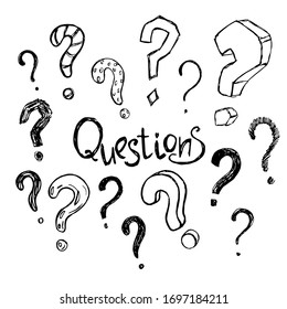 A set of question mark sketches.