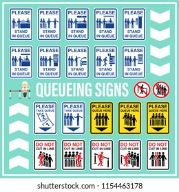 Set of queueing signs and symbols use to indicate and remind all people about the zone or area of waiting line. Stand in queue, Line up, Do not cut in line.