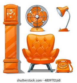 Set of quilted leather chair orange color, table lamp, fan, grandfather clock and telephone. Furniture for interior modern style isolated on white background. Vector cartoon close-up illustration.