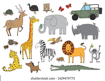 A set of quirky African animals seen on safari. Vector illustration.