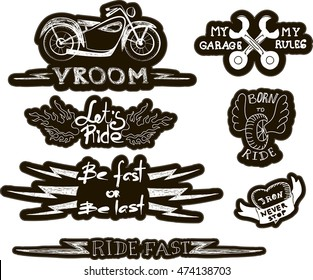 set of quirky cartoon patch badges or fashion pin badges. Set of vintage motorcycle emblems, labels, badges, logos and design elements. Monochrome style.