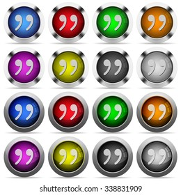 Set of quotation glossy web buttons. Arranged layer structure.