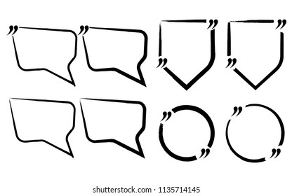 Set of Quote Blank Icon and Label. Template for note,message, comment. Vector Illustration.