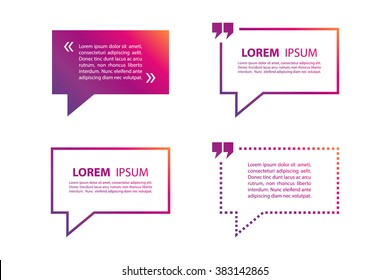 Set of quote blank text bubble gradient template. Vector illustration.